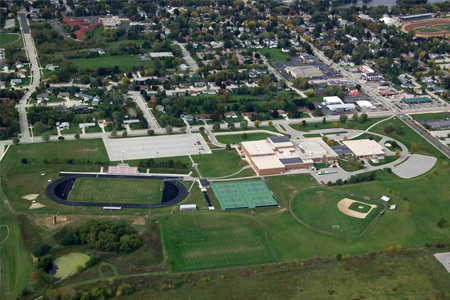An aerial view of Plymouth High School and its athletic fields.