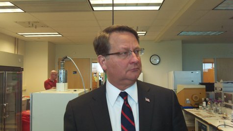 Senate Candidate Gary Peters taking a look around a lab at the Innovation Center.
