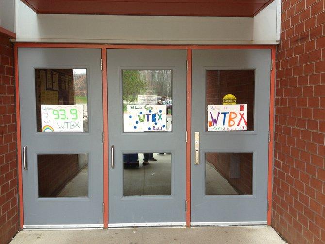Main doors of the school welcoming Craig and Rachel.