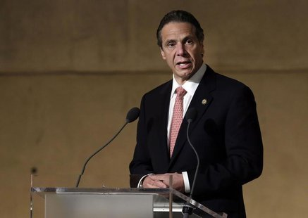 New York Governor Andrew Cuomo speaks during the dedication ceremony in Foundation Hall, of the National September 11 Memorial Museum, in Ne