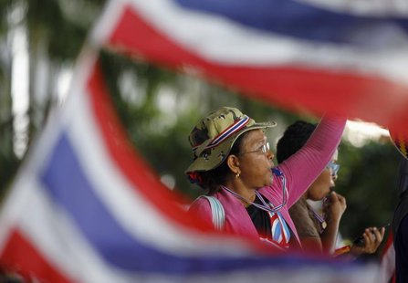 An anti-government protester blows her whistle during a rally outside the office of Election Commission in Bangkok May 15, 2014. REUTERS/Cha