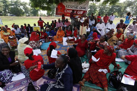 Protesters gather during a sit-in protest in support of the release of the abducted Chibok schoolgirls at the Unity Fountain in Abuja May 15
