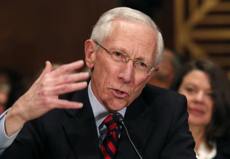 Stanley Fischer, the former chief of the Bank of Israel, testifies before the Senate Banking Committee confirmation hearing on his nominatio