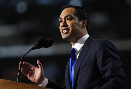 Keynote speaker and San Antonio, Texas Mayor Julian Castro addresses the first session of the Democratic National Convention in Charlotte, N