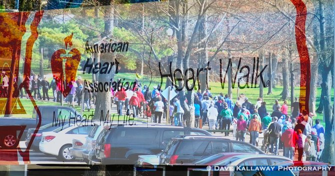 Walkers are going through Marathon Park..beautiful day..blended this pic right over the starting banner!!