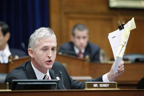 Representative Trey Gowdy (R-SC) speaks during a House Oversight and Government Reform Committee session at Capitol Hill in Washington June