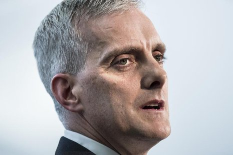 White House Chief of Staff Denis McDonough speaks during a retirement ceremony at the National Security Agency in Fort Meade, Maryland March