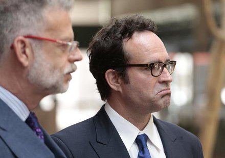 Actor Jason Patric (R) and his attorney Fred Silberberg (L) speak following a custody hearing at the 2nd District Court of Appeals in Los An