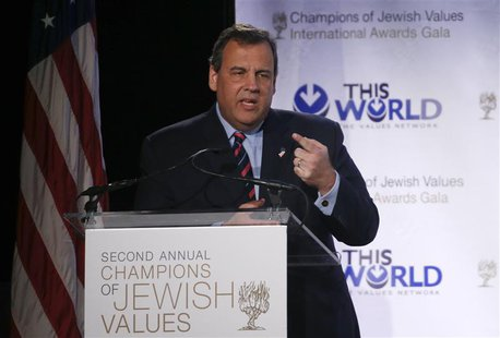 New Jersey Governor Chris Christie addresses the second Annual Champions of Jewish Values International Awards Gala in New York, May 18, 201