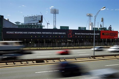 A sign along the Massachusetts Turnpike in Boston May 20, 2014. REUTERS/Brian Snyder