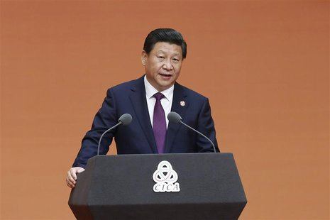 Chinese President Xi Jinping gives a speech during a gala dinner ahead of the fourth Conference on Interaction and Confidence Building Measu