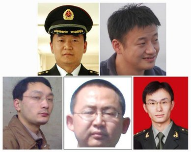 A combination photo shows five Chinese military officers who the U.S. has accused of cyber espionage. Top row: Sun Kailiang (L), Huang Zheny