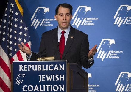 Wisconsin Governor Scott Walker speaks during the Republican Jewish Coalition Spring Leadership Meeting at the Venetian Resort in Las Vegas,