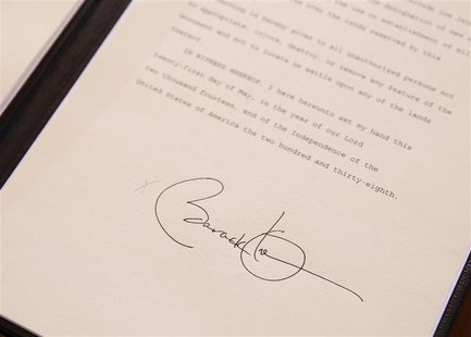 The signature of U.S. President Barack Obama on a proclamation establishing the Organ Mountains-Desert Peaks National Monument in south-cent