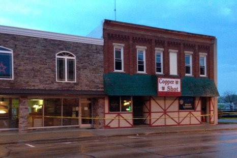The Copper Shot Bar in downtown New London is damaged by fire, May 20, 2014. (Photo from: FOX 11).