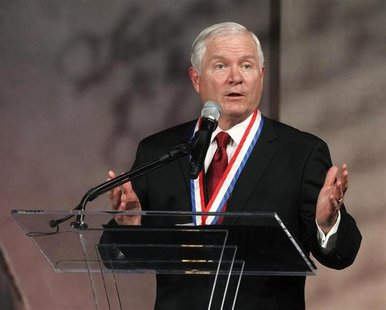 Former U.S. Defense Secretary Robert Gates speaks after being awarded the Liberty Medal at the National Constitution Center in Philadelphia,