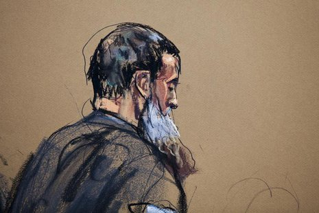 A courtroom sketch shows Nazih al-Ragye known by the alias Abu Anas al-Liby as he appears in Manhattan Federal Court for an arraignment in N