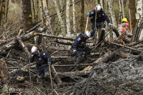 Rescuers search the large debris pile left by a mudslide in Oso, Washington, April 4, 2014. REUTERS/Max Whittaker