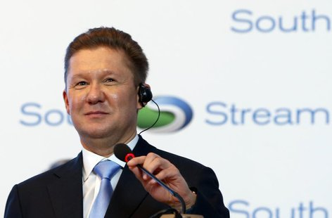 Gazprom Chief Executive Alexei Miller speaks during a ceremony to mark the start of construction on the Serbian leg of Gazprom's South Strea