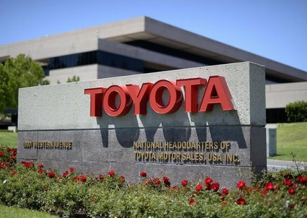 The signboard of the national headquarters of Toyota Motor Sales USA, is seen in Torrance, California April 28, 2014. REUTERS/Kevork Djansez