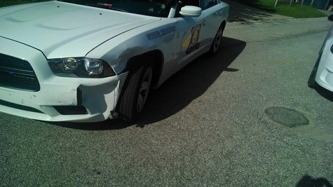 ISP Cruiser damaged in chase