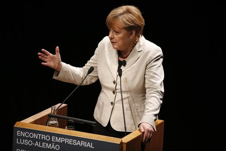 German Chancellor Angela Merkel gives a speech during a meeting with Portuguese-German businessmen in Lisbon November 12, 2012. REUTERS/Rafa