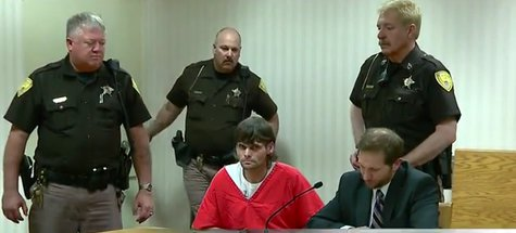 James Parchem makes his initial court appearance on charges of making meth in a Grand Chute hotel. (Photo from: FOX 11/Youtube).