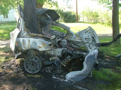 Remains of a single-vehicle crash on May 24, 2014, off of 63rd Street in Hartford. The driver, Juan Carlos Meza Jr. of Dowagiac, died at the scene. (photo courtesy Michigan State Police)