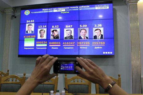 A journalist takes a picture of a display with the intermediate results of Sunday's presidential election in the headquarters of the Central