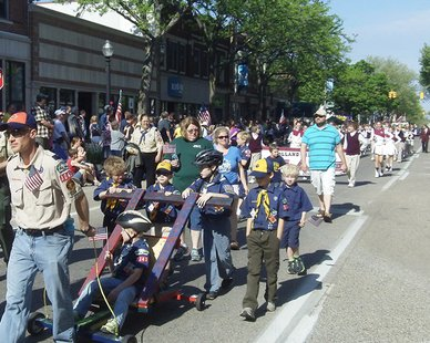 Image from 2014 Memorial Day Parade down 8th Street in downtown Holland, Michigan on May 26, 2014
