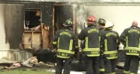 Moorhead Firefighters at the scene of a fire in Greenwood Mobile Home Park