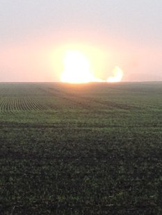 Gas line rupture near Warren, Minnesota.    (Photo courtesy Marshall County Sheriff's Office)