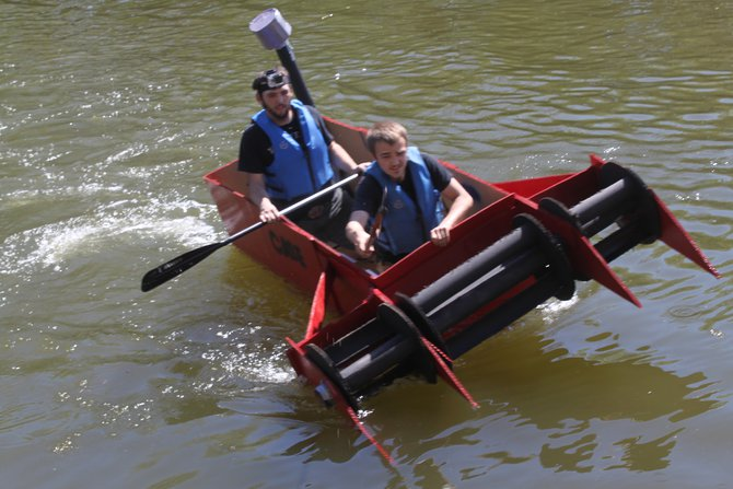 Murphy, Katie & Nick hosted the Redneck Regatta cardboard boat race at Celebrate De Pere 2014