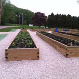 A view of the garden beds Wisconsin Public Service and Meals on Wheels helped to put together.