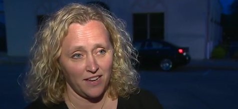 Clintonville City Administrator Lisa Kotter talks to the media following a city council meeting on May 27, 2014. (Photo from: FOX 11/YouTube).