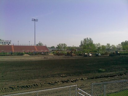 Trucks working on renovations at Moorhead High School's Jim Gotta Stadium