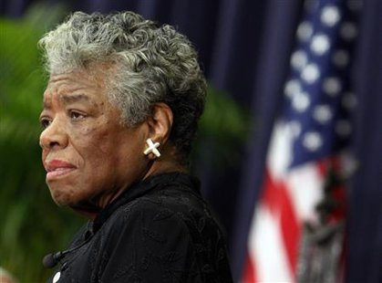 U.S. poet Maya Angelou speaks during a ceremony to honor South African Archbishop Emeritus Desmond Tutu in Washington in this file photo taken November 21, 2008. CREDIT: REUTERS/JIM YOUNG/FILES