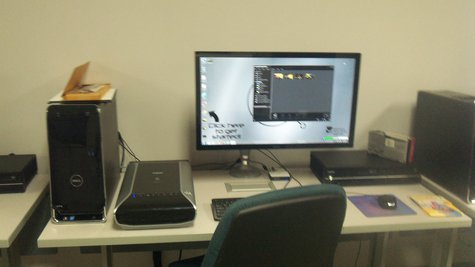 """One of the work areas inside the new """"Hub""""."""