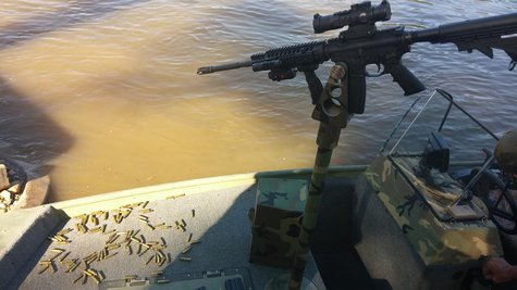 gun mounted to boat of Stephen Winland. photo provided by Indiana DNR