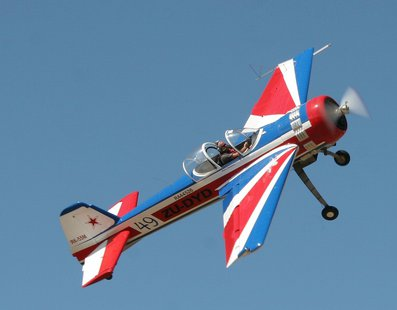 The Yakovlev Yak-55 is a single seat aerobatic aircraft. Pilots flying the Yak-55 have won several world aerobatic championships.  Photo: Wikimedia Commons