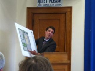Attorney Donner shows alderman CVS site plan