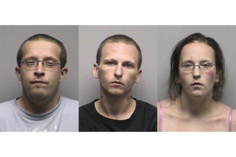 From left to right: Joseph Anderson, Nicholas Block, and Ashley Van Norman (Photo from: Oconto County Jail).