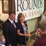 Former governor Mike Rounds celebrates with supporters after winning the Republican race for U.S. Senate - KELO file photo