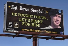 A billboard stands in support of Bowe Bergdahl just outside of Spokane Washington. /REUTERS Jeff T. Green