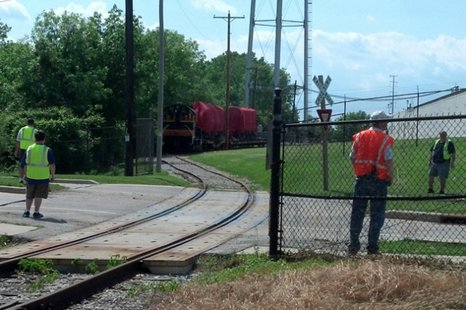 The Dwight D. Eisenhower locomotive returns to storage at the National Railroad Museum in Ashwaubenon, June 6, 2014. The train had spent two years at the National Railway Museum in York, England. (Photo from: FOX 11).