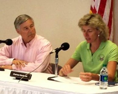 US House Energy and Commerce Committee Chairman Fred Upton (R-St. Joseph) watches as Nuclear Regulatory Committee Chairwoman Allison Macfarlane discusses their tour of the Cook and Palisades nuclear power plants before reporters on June 6, 2014. (photo courtesy office of Fred Upton)