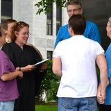 A gay marriage ceremony being performed in Madison (Photo: Wisconsin Radio Network)