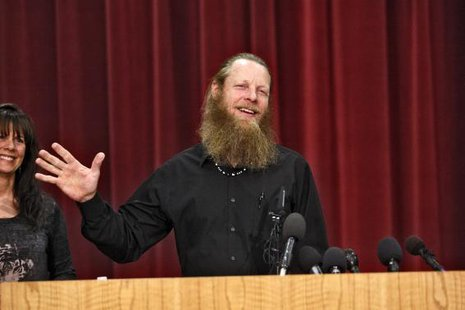 Bob Bergdahl, father of U.S. Army Sergeant Bowe Bergdahl, speaks during a news conference as his wife Jani looks on at the Idaho National Guard headquarters in Boise, Idaho June 1, 2014.  CREDIT: REUTERS/BRIAN LOSNESS