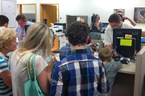 Same-sex couples apply for marriage licenses at the Brown County Clerk's Office in Green Bay, June 9, 2014. (Photo from: FOX 11).