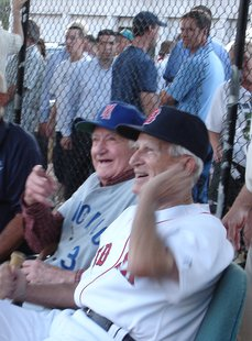 Merullo (left) with Johnny Pesky, 2008